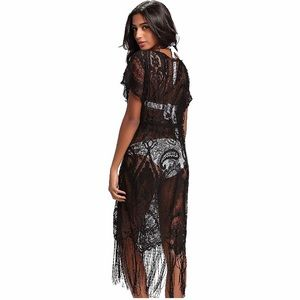 Costyleen Swim - Costyleen Black Lace Fringe Swim Cover-up in Small